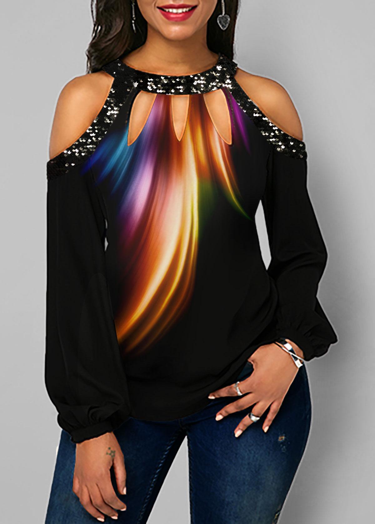Printed Cold Shoulder Sequin Embellished T Shirt