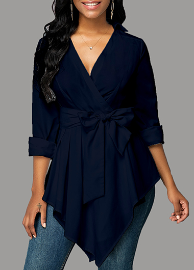 Tie Bowknot Navy Blue Blouse for Autumn