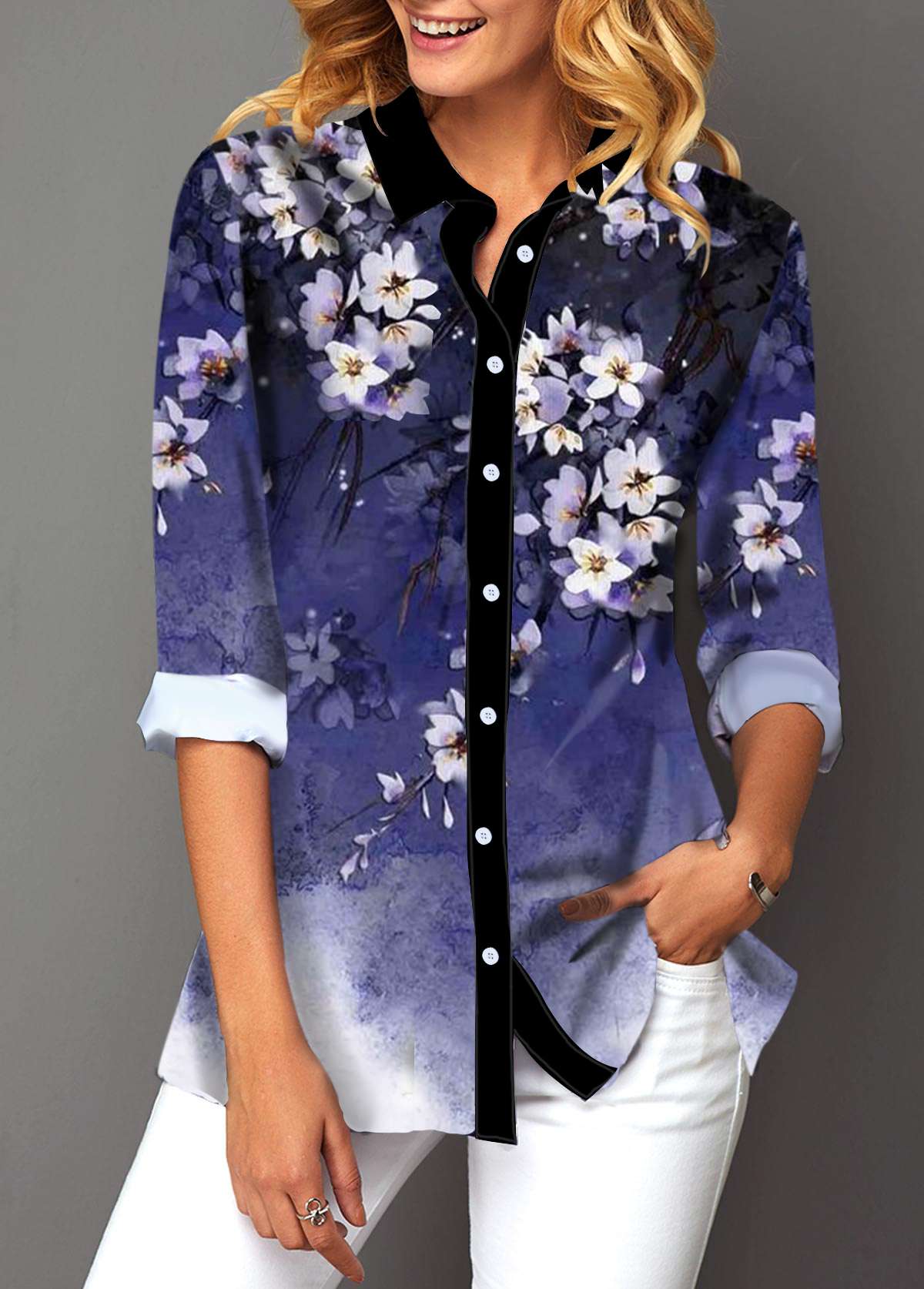 Turndown Collar Button Up Floral Print Blouse