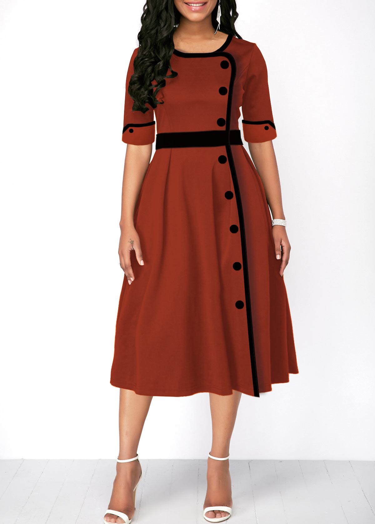 Half Sleeve High Waist Button Front Dress