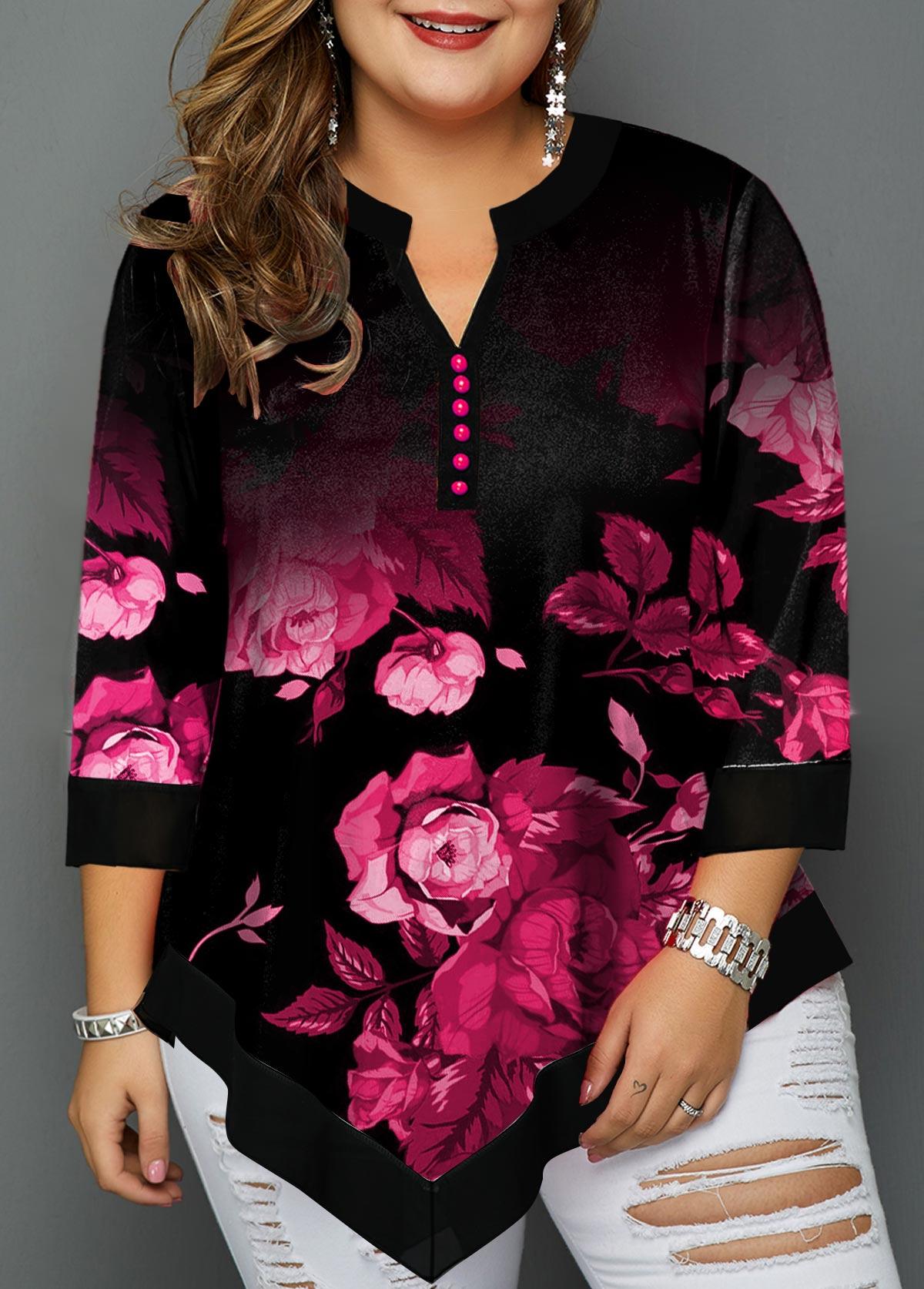 Flower Print Asymmetric Hem Plus Size Blouse