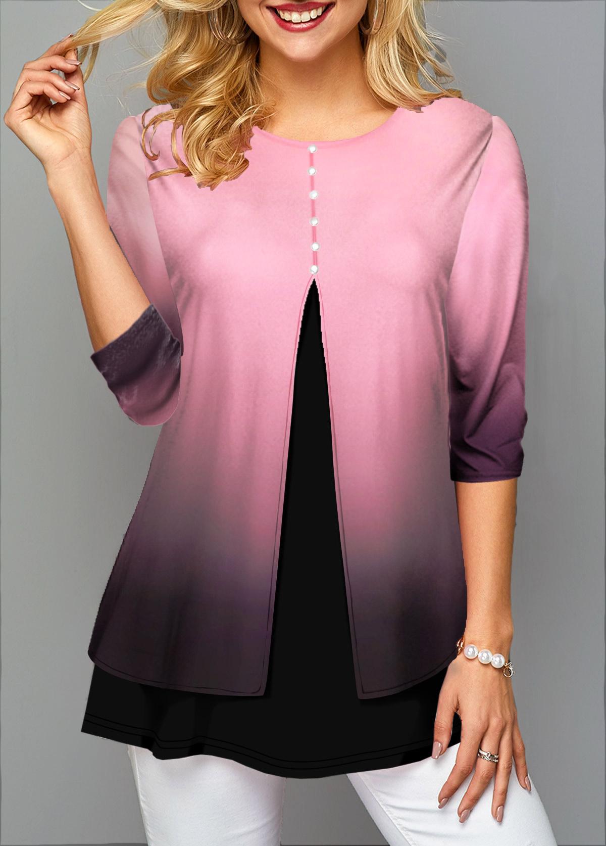 Three Quarter Sleeve Gradient Button Front T Shirt