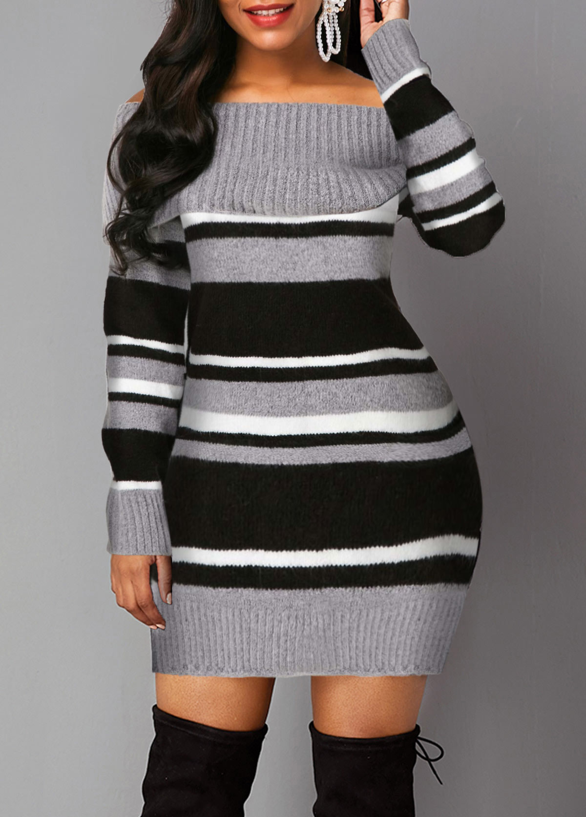 Long Sleeve Off the Shoulder Stripe Pattern Sweater Dress