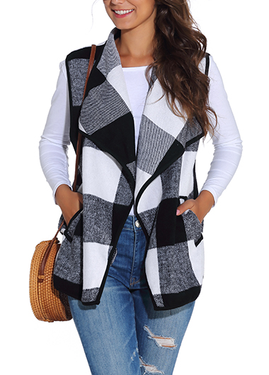 Color Block Pocket Open Front Vest