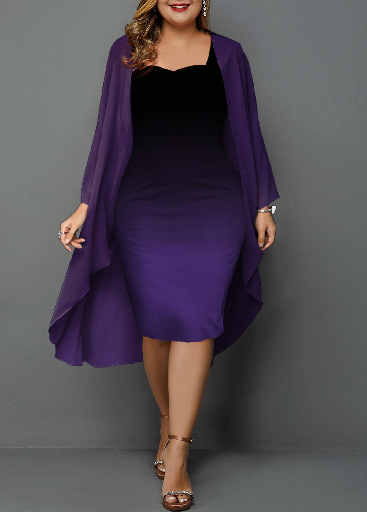 Plus Size Chiffon Cardigan and Gradient Dress