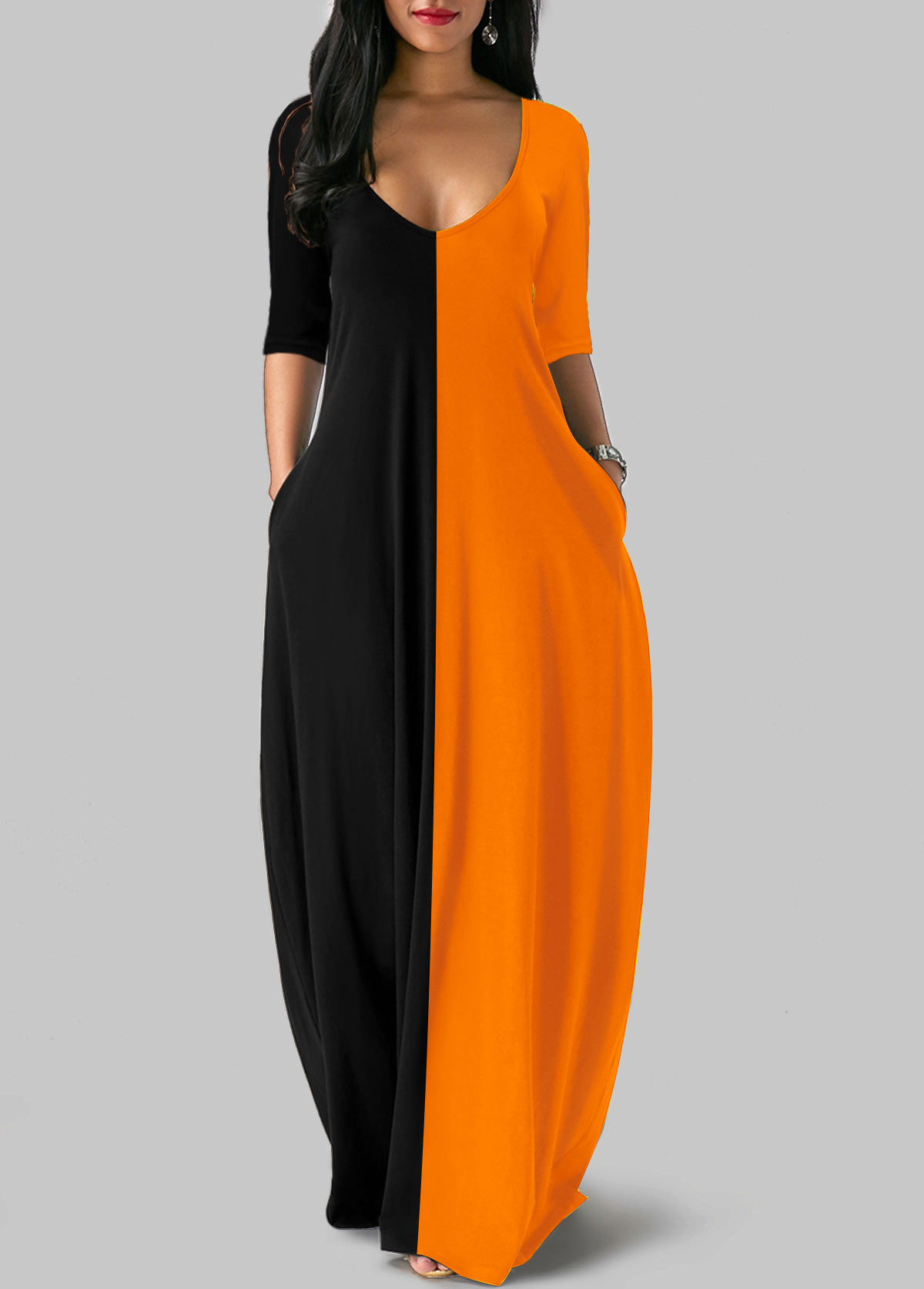 Plunging Neck Three Quarter Sleeve Color Block Maxi Dress