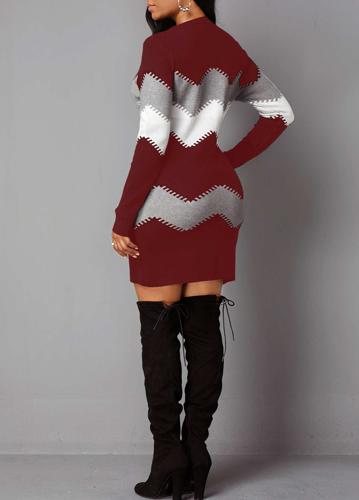 Mock Neck Long Sleeve Chevron Pattern Sweater Dress