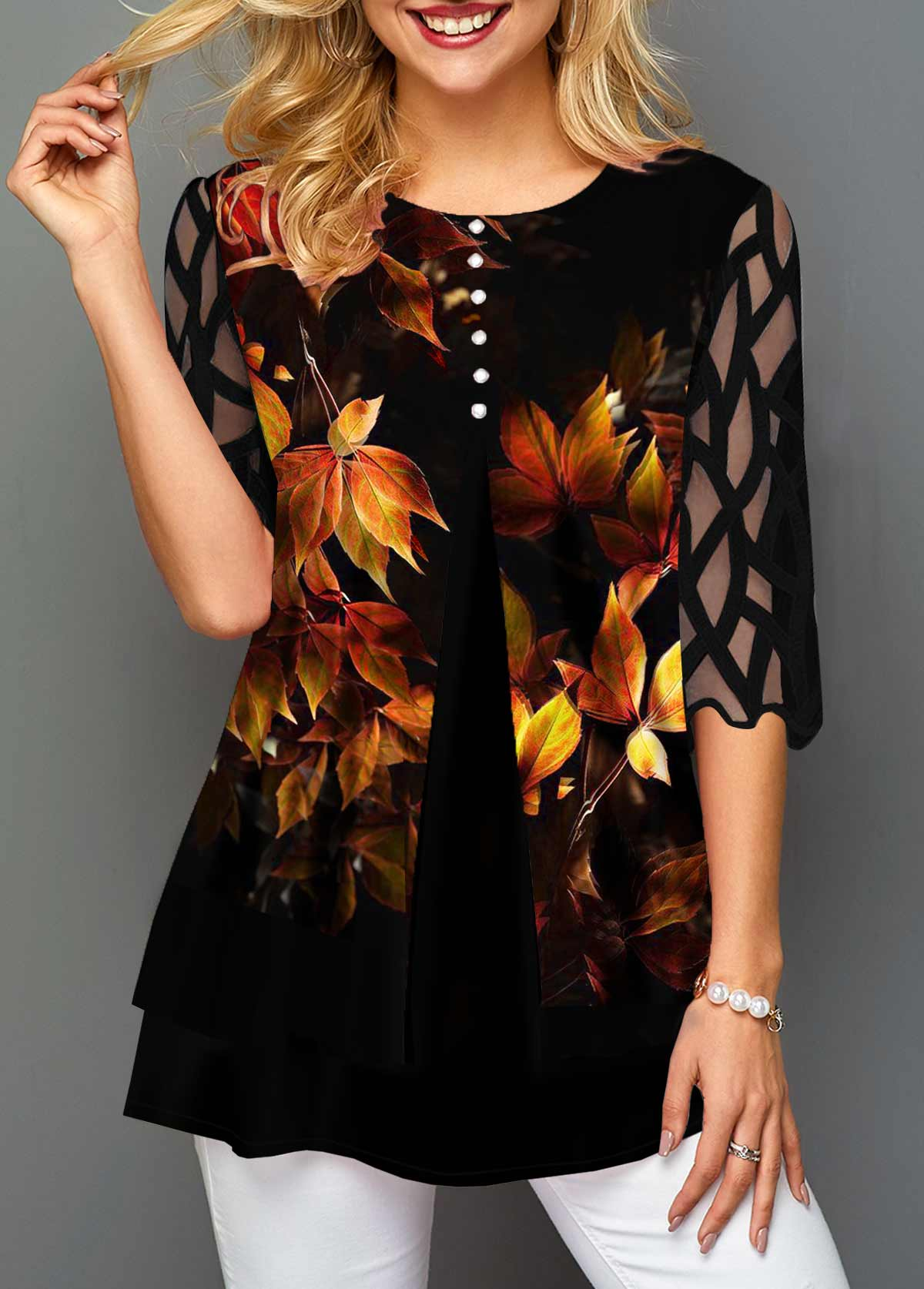 Faux Two Piece Maple Leaf Print T Shirt