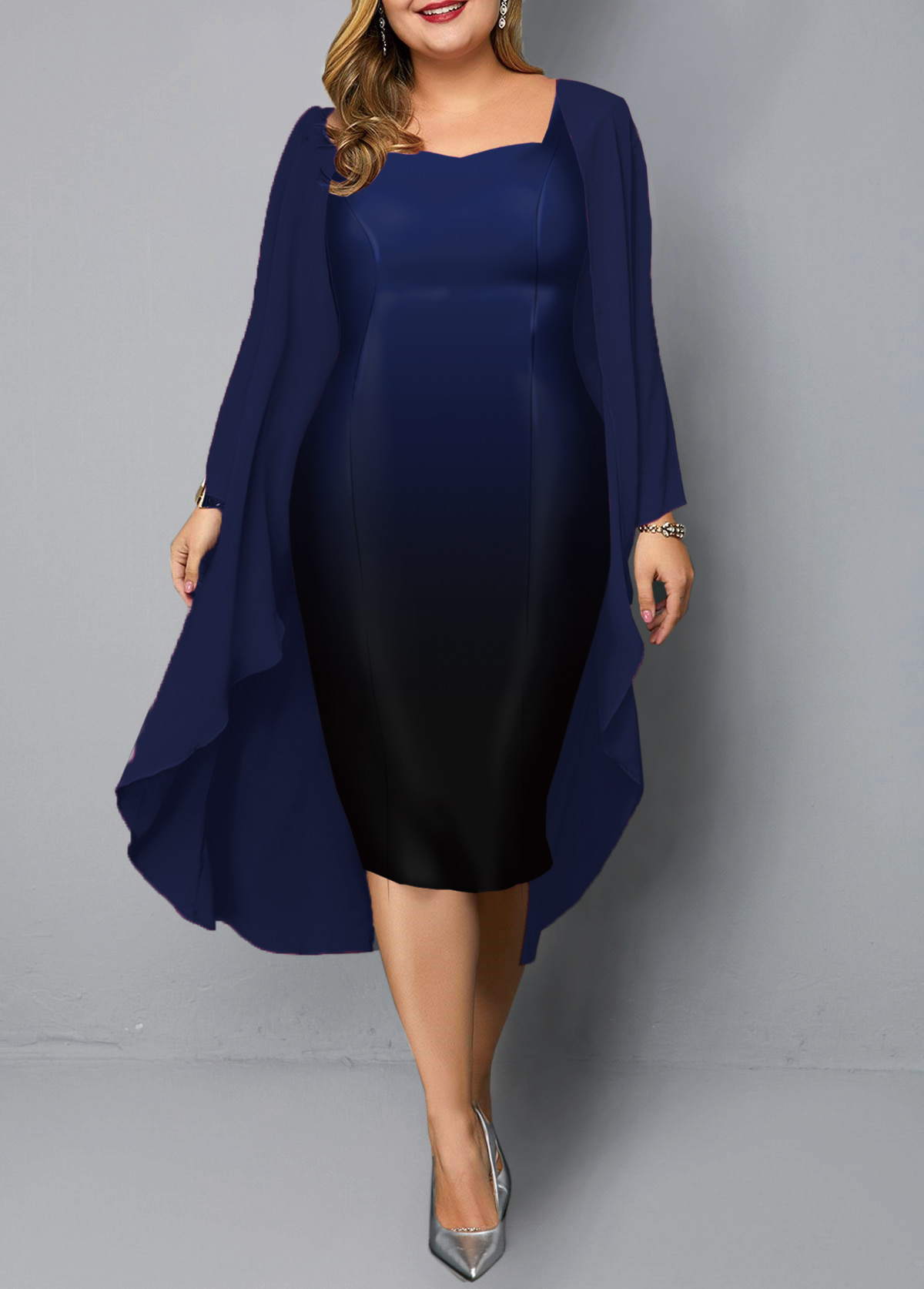 Plus Size Long Sleeve Chiffon Cardigan and Gradient Dress