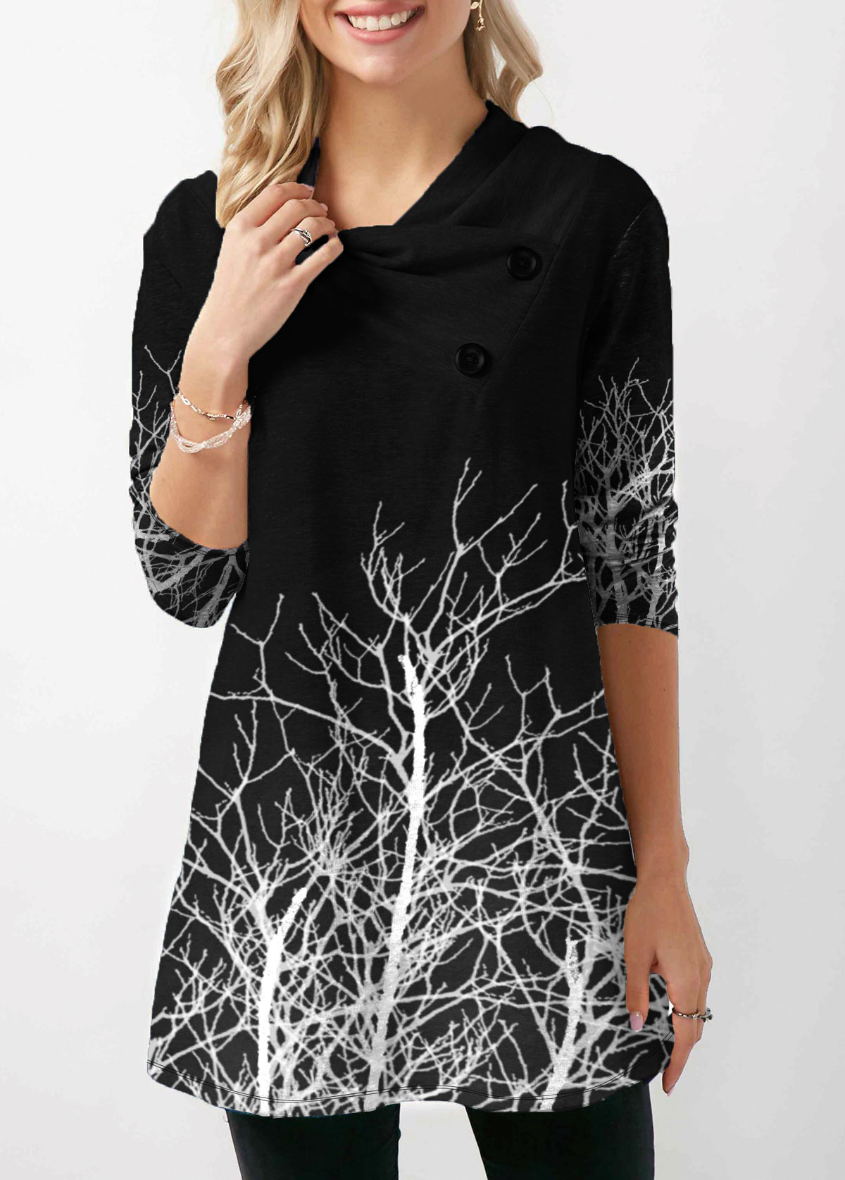 Long Sleeve Button Detail Tree Print T Shirt
