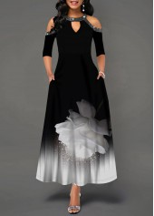 Keyhole Neckline Sequin Embellished Printed Maxi Dress