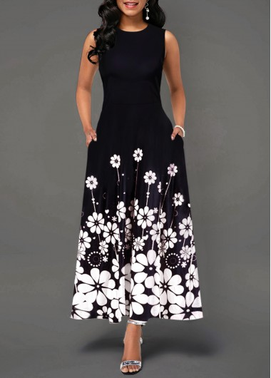 Women'S Black Floral Print Sleeveless Maxi Spring Dress Round Neck Elegant Casual Dress By Rosewe - L