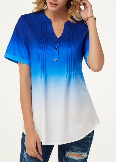 Women'S Royal Blue Short Seeve Tunic Casual Blouse Ombre Dip Dye Button Detail Crinkle Chest Split Neck Top By Rosewe - L