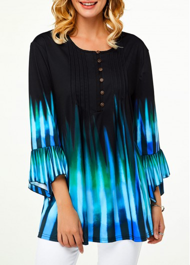 Women'S Cyan Flare Three Quarter Sleeve Casual Blouse Stripe Print Crinkle Chest Ombre Dip Dye Tunic Top By Rosewe - L