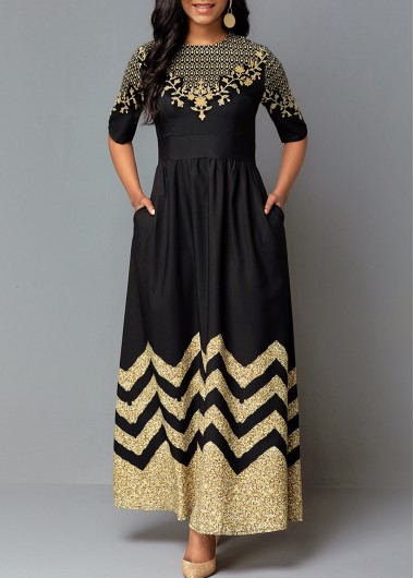 Women'S Black Short Sleeve Vintage Printed Cocktail Party Dress Round Neck A Line Maxi Dress By Rosewe - M