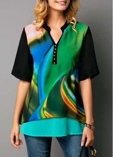 Women'S Green Faux Two Piece Casual Blouse Printed Split Neck Half Sleeve Button Detail Tunic Top By Rosewe - L