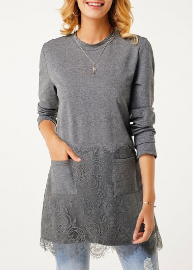 Women'S Grey Long Sleeve Longline Tunic T Shirt With Pockets Solid Color Lace Panel Round Neck Tunic Casual Top By Rosewe - M