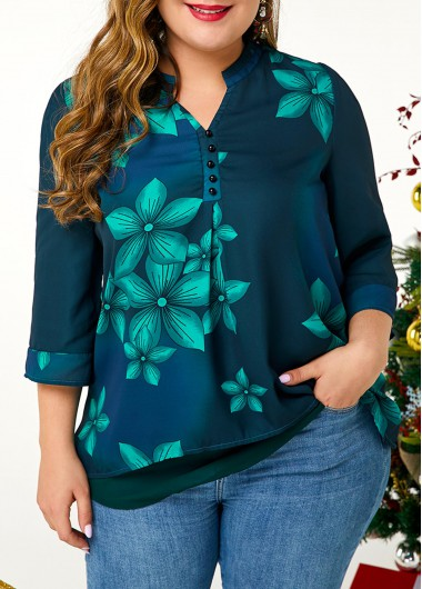 Women'S Dark Green Large Floral Print Plus Size Blouse Button Detail Split Neck Three Quarter Sleeve Tunic Casual Top By Rosewe - 1X
