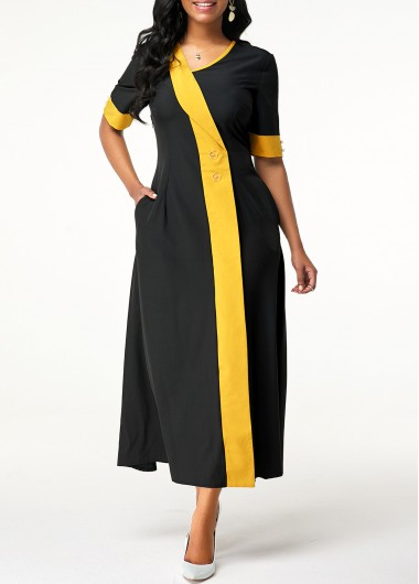 Women'S Black Short Sleeve Vintage Maxi Dress With Pockets Asymmetric Neck Button Detail Party Dress By Rosewe - L