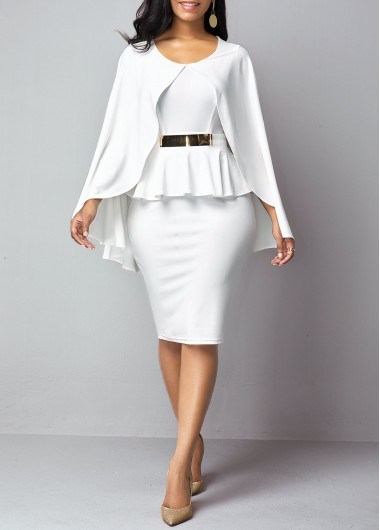 Women'S White Overlay Long Sleeve Sheath Formal Dress Solid Color Round Neck Peplum Waist Knee Length Elegant Cocktail Party Dress By Rosewe - M