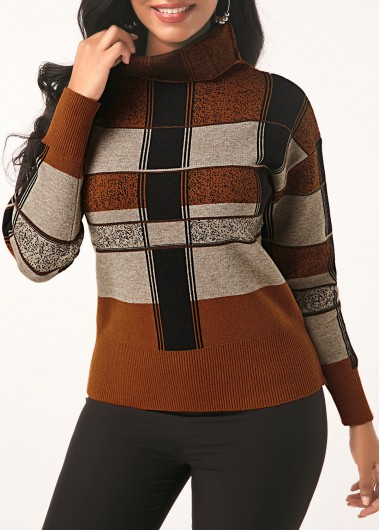 Women'S Brown Plaid Pattern Turtleneck Long Sleeve Sweater Pullover Tunic Casual Top By Rosewe - L
