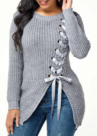 Women'S Grey Lace Up Asymmetric Hem Longline Sweater Long Sleeve Round Neck Pullover Casual Top By Rosewe - L
