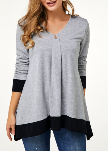 Button Detail Contrast Piping V Neck T Shirt - XXL