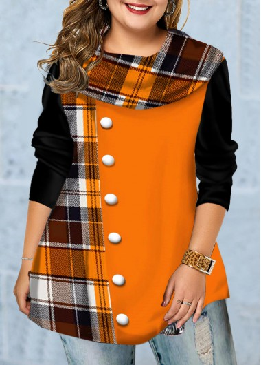 Inclined Button Long Sleeve Plaid Print T Shirt