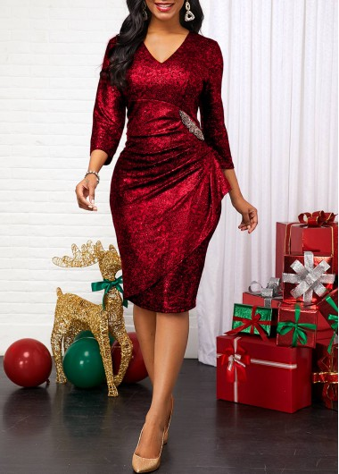 New Years Eve Women'S Red Sequin V Neck Three Quarter Sleeve Sheath Cocktail Party Dress Solid Color Holiday Midi Dress By Rosewe - L