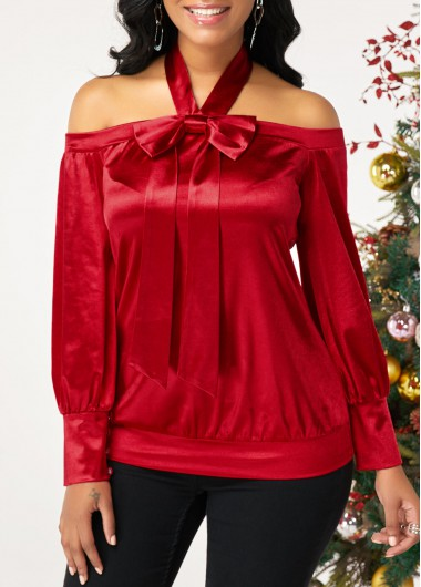 Women'S Red Halter Neck Cold Shoulder Long Sleeve Holiday Blouse  Solid Color Bowknot Embellished Tunic Top By Rosewe - L