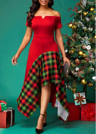 Plaid Print V Bar Side Zipper Dress