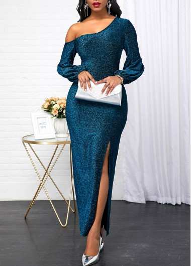 New Years Eve Women'S Peacock Blue Sequin Long Sleeve Skew Neck Evening Party Dress Solid Color Side Slit Maxi Dress By Rosewe - L