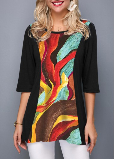 Women'S Black Round Neck Three Quarter Sleeve Tunic T Shirt Multicolor Print Casual Top By Rosewe - XL