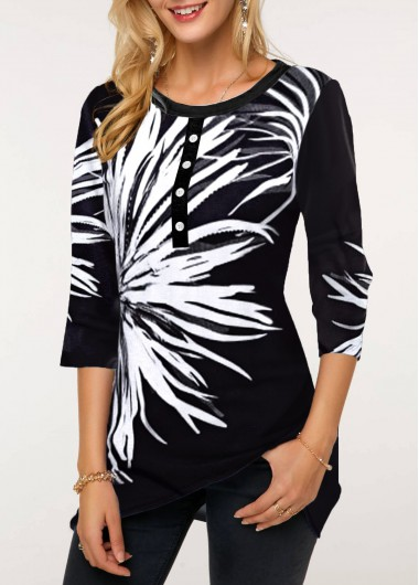 Women'S Black Floral Print Three Quarter Sleeve Round Neck T Shirt Button Front Tunic Casual Top By Rosewe - L