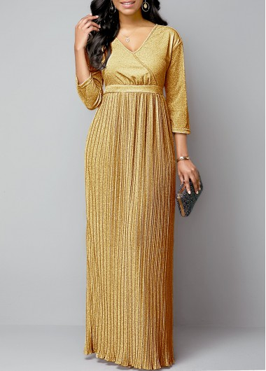 Women'S Gold Plunging Neck Pleated Hem Maxi Evening Party Dress Long Sleeve Hot Stamping Dress By Rosewe - M