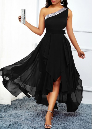 Women'S Black Chiffon One Shoulder Flowy Dress High Waisted Asymmetric Hem Cocktail Party Maxi Dress By Rosewe - L