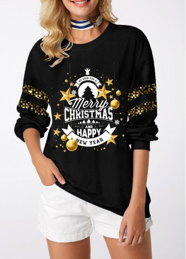 Christmas Women'S Black Sequin Long Sleeve Xmas Print Sweatshirt Pullover Round Neck Tunic Casual Top By Rosewe - M