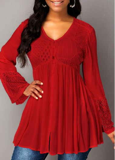 Women'S Red Flare Cuff V Neck Tunic Holidayblouse  Solid Color Long Sleeve Button Detail Lace Panel Casual Top By Rosewe - M