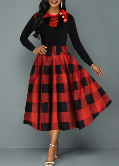 Women'S Black Plaid Print Long Sleeve A Line Cute Holiday Dress  Cowl Neck High Waisted Midi Cocktail Party Dress By Rosewe - L