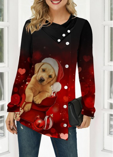 Women'S Red Dog Print Long Sleeve Tunic T Shirt  Button Front Asymmetric Hem Holiday Casual Top By Rosewe - L