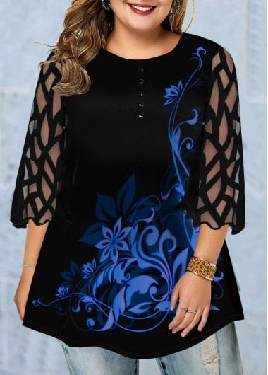 Plus Size Three Quarter Sleeve Printed T Shirt - 0X