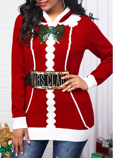 Red Sequin Embellished Hooded Collar Sweater