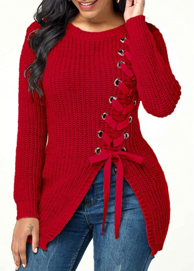 Women'S Red Lace Up Front Long Sleeve Asymmetric Hem Holiday Sweater  Burgundy Solid Color Split Front Casual Jumper By Rosewe - L