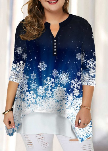 Split Neck Snow Print Plus Size Blouse - 0X