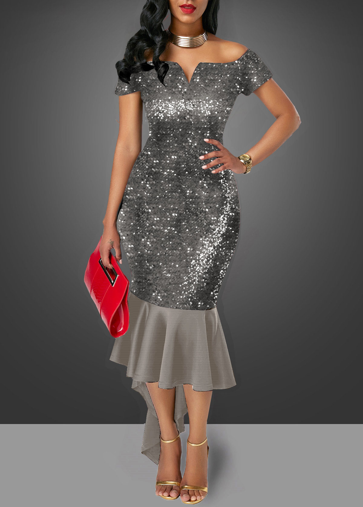 Off the Shoulder Dark Grey Sequin Embellished Sheath Dress
