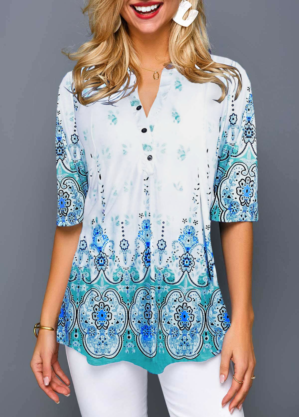 Button Front Split Neck Tribal Print Blouse