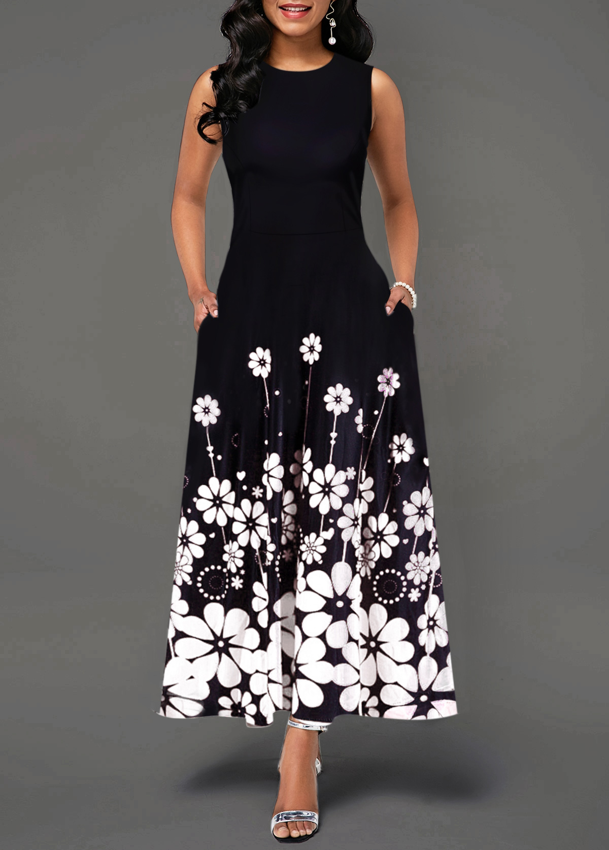 Round Neck Flower Print Color Block Maxi Dress