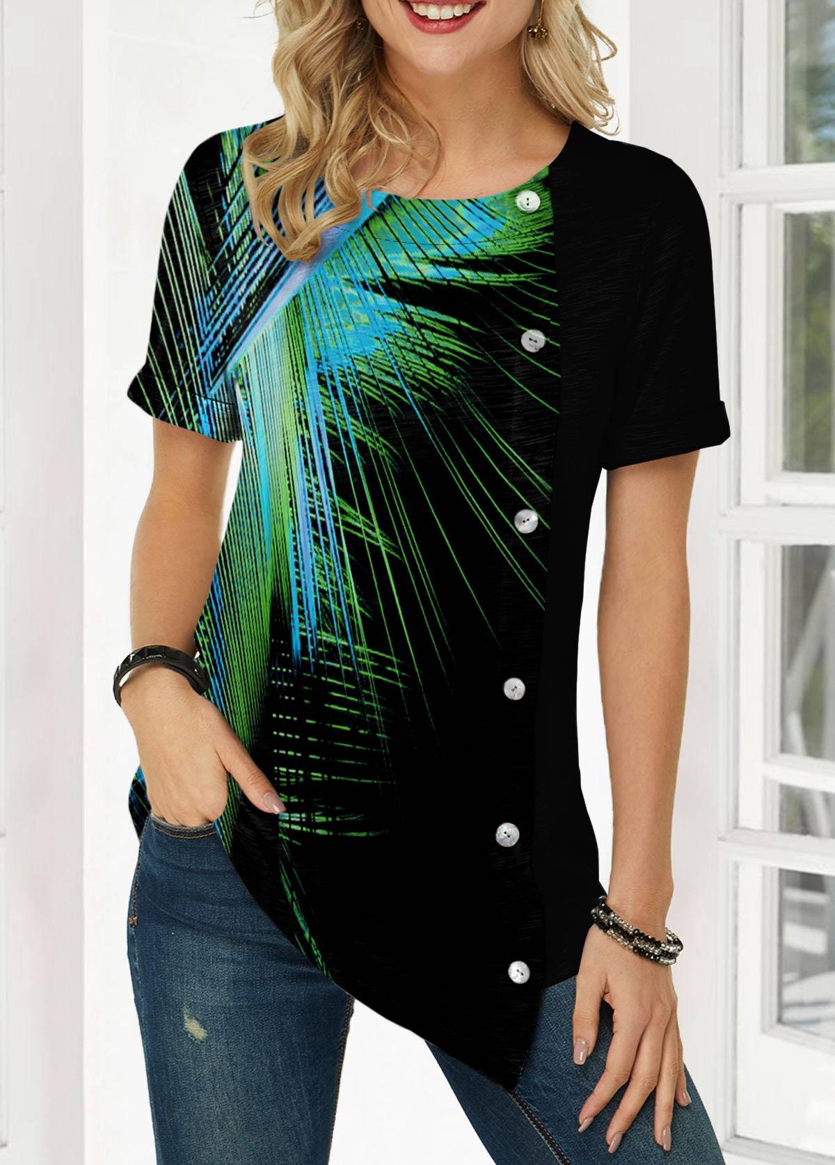 Button Detail Palm Leaf Print Asymmetric Hem T Shirt