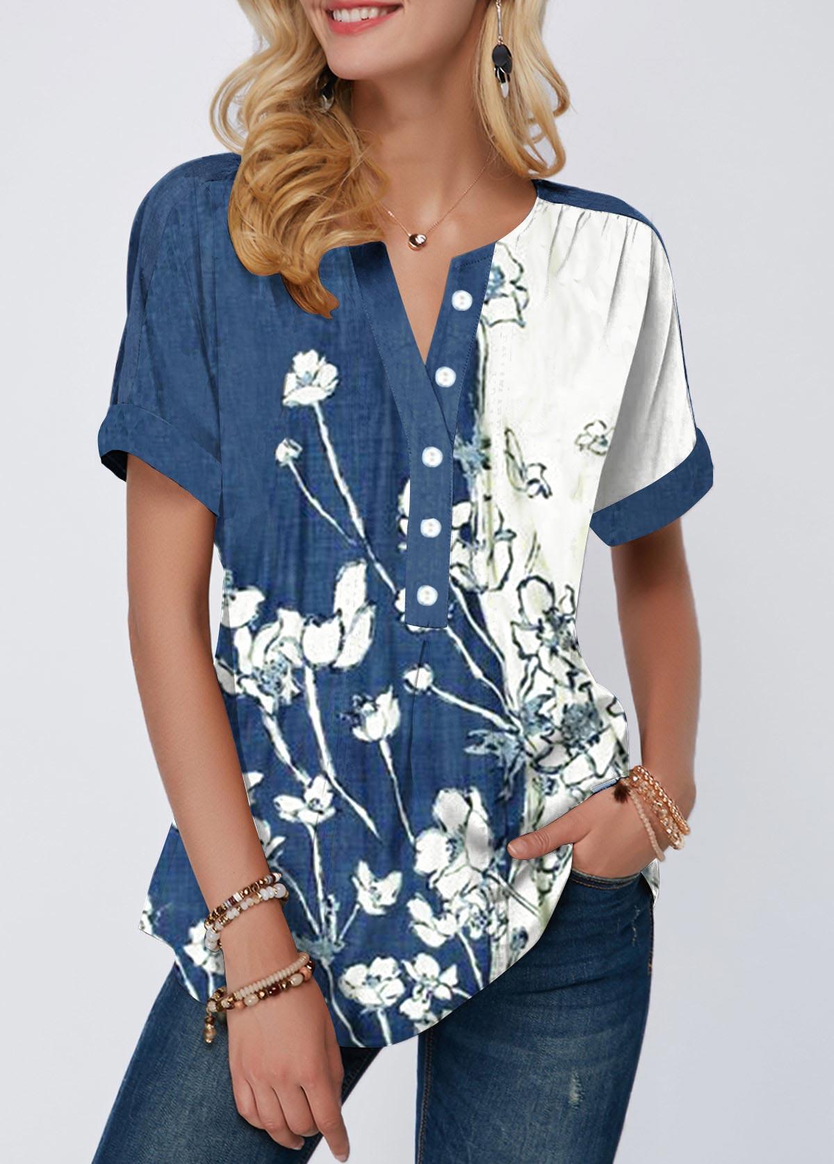 Button Detail Floral Print Split Neck Blouse