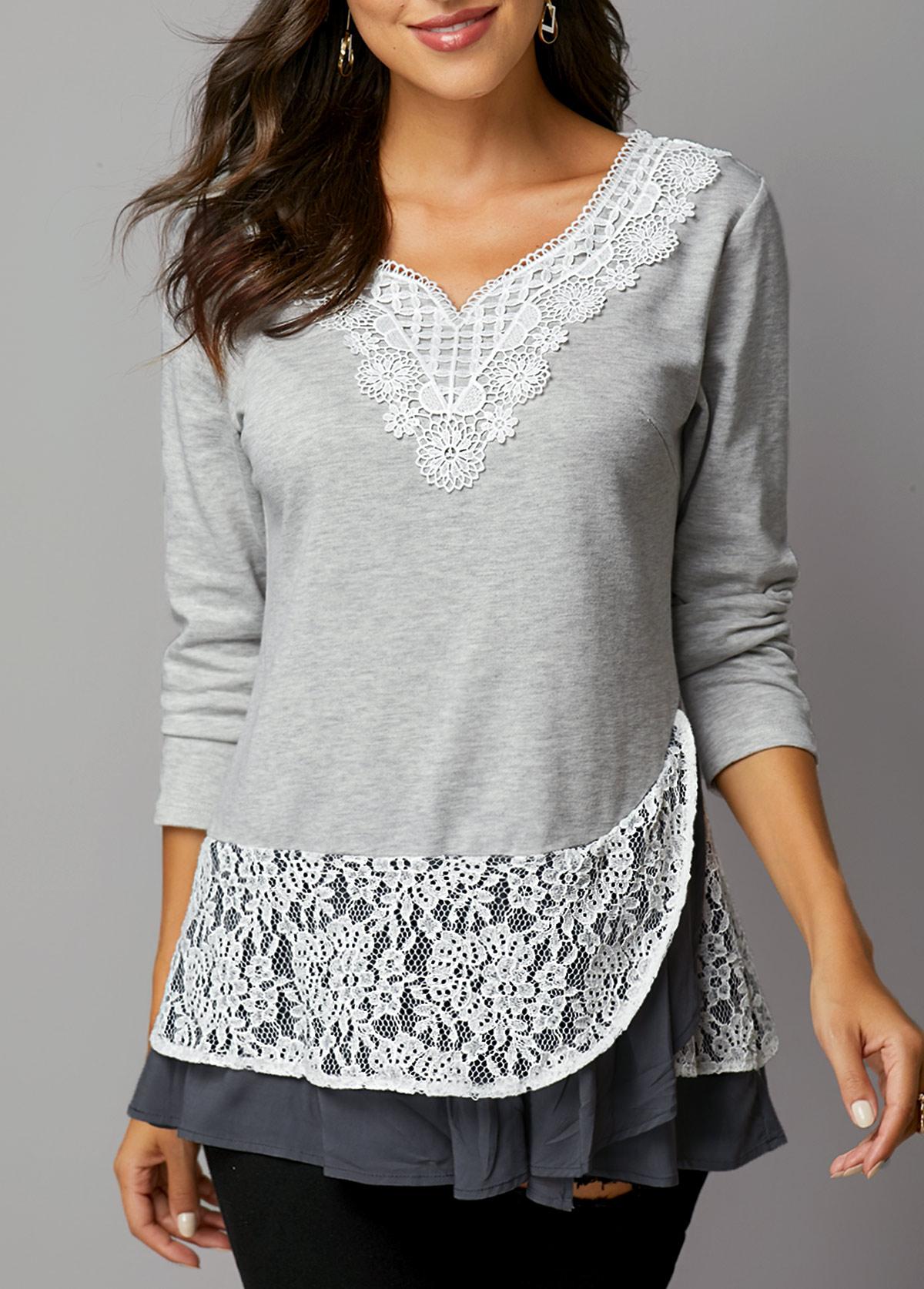 Layered Hem Lace Panel Light Grey T Shirt